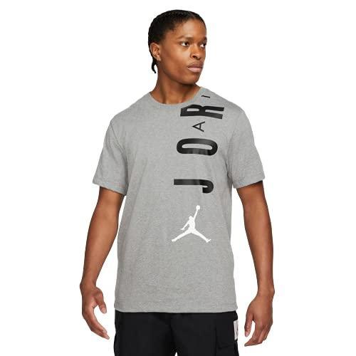 NIKE J Jordan Air Stretch Crew Camiseta, Carbon Heather/Black/White, M para Hombre