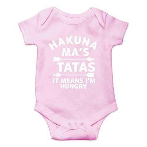 Hakuna Ma's Tatas It Means I'm Hungry - Movie Parody Funny Saying - Cute One-Piece Infant Baby Bodysuit (6 Months, Pink)