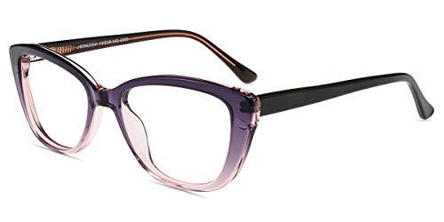 Firmoo Blaulichtfilter Brille Ohne Sehstärke Damen Katzenaugen, Retro Computerbrille gegen Blaulicht Müdigkeit, Entspiegelt Blaulicht UV Schutzbrille für Bildschirme, Acetate Lila Brille
