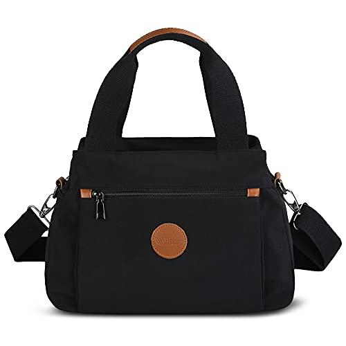DORRISO Moda Borsa Tracolla Donna Tela Mano Borsetta Tracolla Borse Messenger Bag per Shopper Viaggio Lavoro Impermeabile Donna Borsa Tracolla Nero