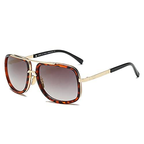 Gafas De Sol Gafas De Sol Rectangulares Vintage para Hombre, Gafas De Sol con Espejo Geniales para Mujer, Gafas Retro Uv400, Estilo Clásico, Leopardo