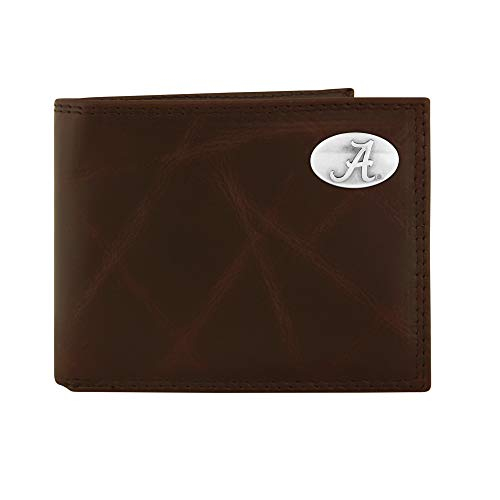 NCAA Alabama Crimson Tide Brown Wrinkle Leather Bifold Concho Wallet, One Size