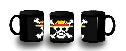 MERCHANDMANIA Taza Completamente Negra Logo One Piece Barco Pirata Black mug