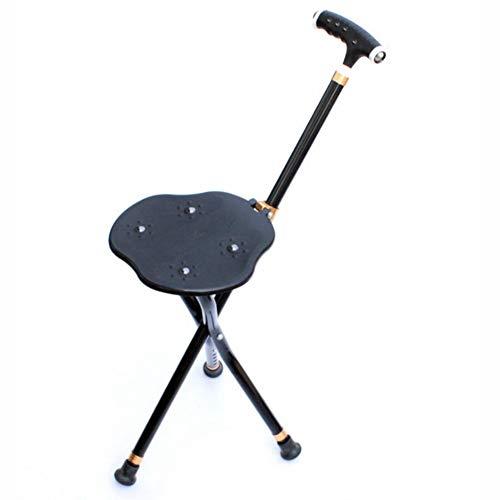 DSHUJC Taburete de muleta Plegable de aleación Aluminio Silla de muleta trípode Mango de Terapia magnética Masaje Tablero Sentado Apto para Personas Mayores