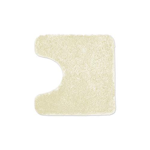WohnDirect Alfombrilla de baño – Alfombra baño – Antideslizante – Alfombra para el Cuarto de baño – Lavable – Alfombrilla para el Inodoro – Crema - 45 x 45cm con Recorte para el Inodoro