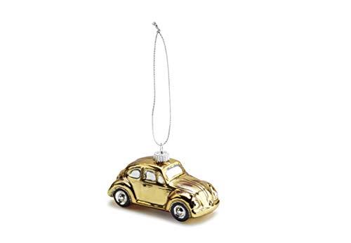 Volkswagen 16D087790A Weihnachtsbaumanhänger Gold Käfer Beetle Glas Christbaumschmuck Christbaumkugel
