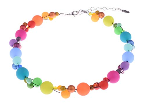 """Adi Modeschmuck Halskette """"Amelie"""", Leuchtend bunter Materialmix aus Polaris- und Glasperlen, Handgefertigt Berlin"""