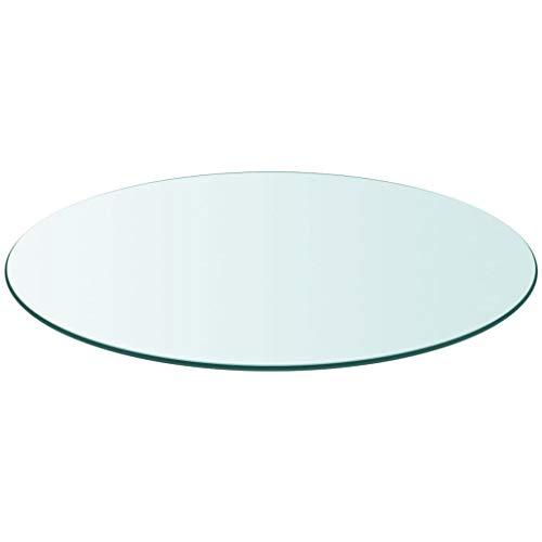 EBTOOLS - Bandeja de mesa redonda para comedor (90 cm de diámetro), cristal templado transparente, grosor 10 mm, tablero de mesa de restaurante, hotel, bar casa