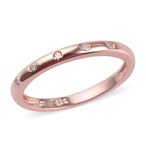 TJC Silver Button Band Wedding Ring for Women with White Diamonds Proposal Valentine Day Gift for Wife/Girlfriend in Rose Gold Plated 925 Sterling Silver Size U, TCW 0.05ct.