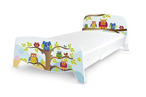 Leomark Cama con regulación del Largo - Sophia - Moderno Dormitorio para Niños, 3 ajustes de Longitud, Espacio para Dormir: 200/90 (Colchón 90x200 + 2X 30/90 cm) Búhos