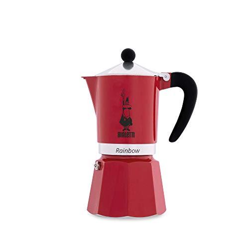Bialetti Rainbow Espressokocher, Aluminium, Rot, 6 Tassen