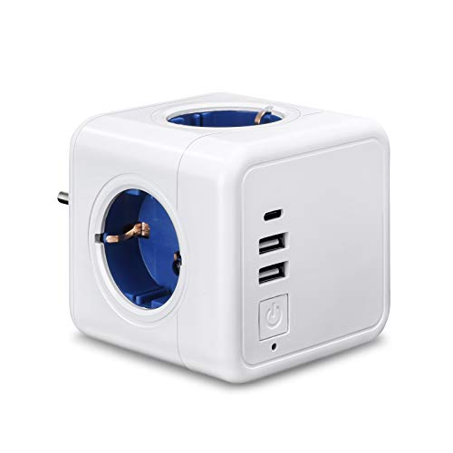 Beinhome 6 en 1 USB Enchufe Multiple Pared Ladron Enchufes Cubo Adaptador Enchufe con Interruptor, 4 Toma de CA, Doble USB 1 Puerto Tipo C, Blanco Regleta Enchufes sin Cable