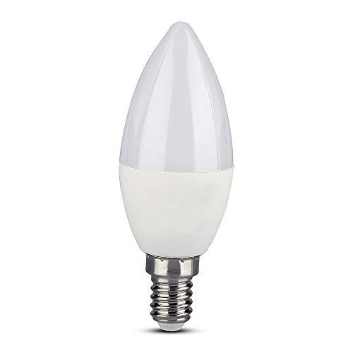 Lampadina LED E14 4,5W a Candela Compatibile con Google Home e Amazon Alexa Tramite App V-Tac Smart RGB e 3 in 1 Dimmerabile