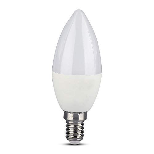 V-TAC VT-5114, Lampadina LED E14 4,5W a Candela Compatibile con Google Home e Amazon Alexa Tramite App V-Tac Smart RGB e 3 in 1 Dimmerabile