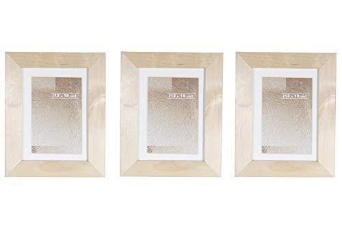 BD ART Set de 3 Marcos de Fotos de Madera solida 13 x 18 cm
