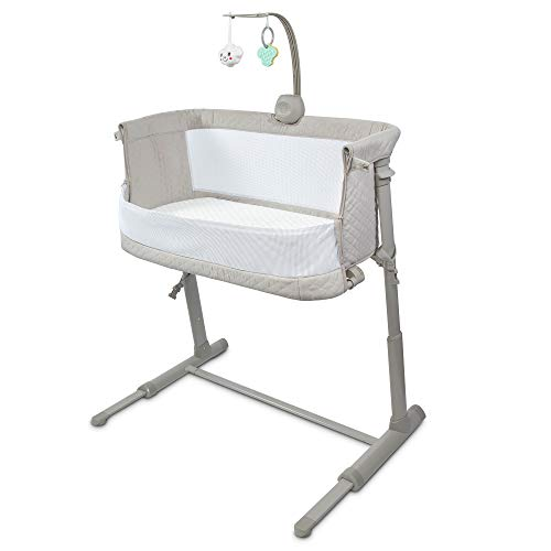 Lil' Jumbl Baby Bassinet Bedside Sleeper, Safe Infant Standalone Crib, 10 Adjustable Height Positions Attaches to Any Bed or Sofa, Includes A Mattress, 2 Sheets & A Music Box with Toys