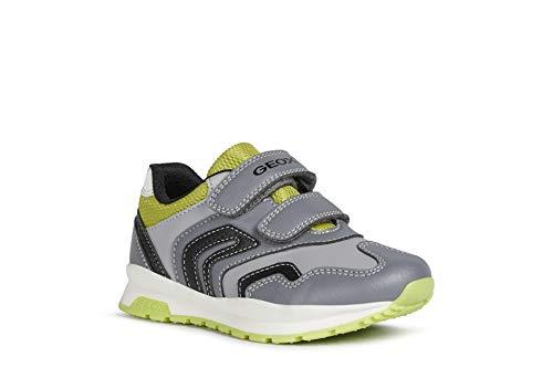 Geox Unisex-niños Zapatillas Pavel,Niños,Niñas Bajo,Zapato bajo,Calzado Deportivo,Cierre de Velcro,Removable Insole,Grey/Lime,29 EU/11 UK...
