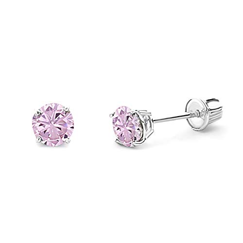 14k REAL White Gold 4mm Round Solitaire Basket Set Stud Earrings with Screw Back