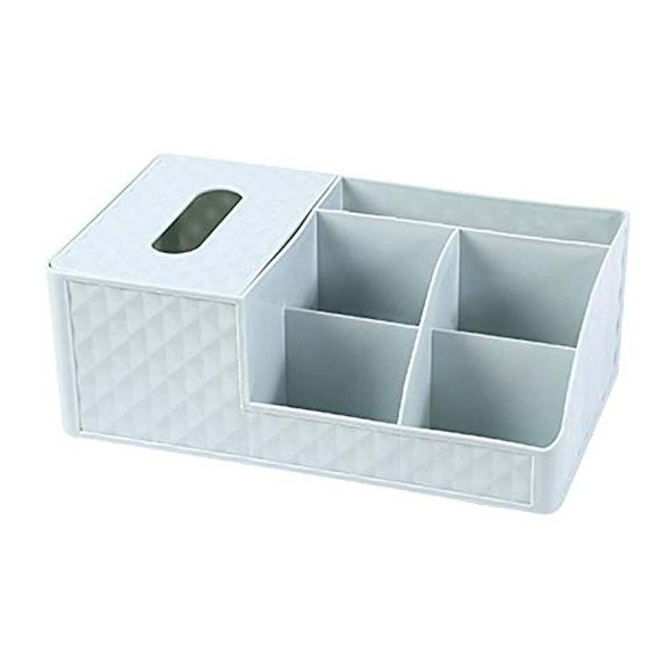 深める過度に未使用CUHAWUDBA プラスチック化粧品収納ボックス オフィスデスクトップ収納化粧収納ボックス ペーパータオルコンテナ棺ペンホルダー 家庭用ゴミ収納ボックス、ブルー