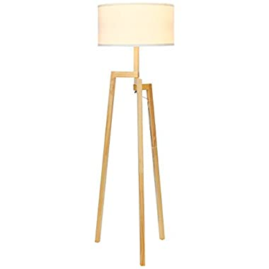 Brightech Mia LED Tripod Floor Lamp– Modern Design Wood Mid Century Style Lighting for Contemporary Living or Family Rooms- Ambient Light Tall Standing Survey Lamp for Bedroom, Office - White Shade
