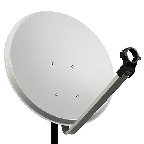 PremiumX PXA80 Satellitenschüssel 80cm ALU Hellgrau Satellitenantenne SAT Spiegel mit LNB Tragarm und Masthalterung