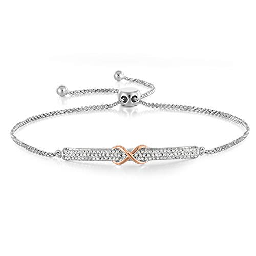 Angelady Silver Infinity Bracelets Bangles for Womens Adjustable Friendship Bracelets in Silver, Women Bangles Birthday Wedding Gifts for Women Girls