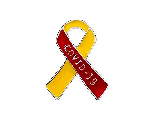 Coronavirus Awareness Ribbon Pins – Red & Yellow Ribbon Pin for COVID-19 Awareness, Fundraising, Gift-Giving and Support (1 Pin)