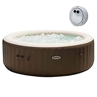 Intex Pure Spa 290 Gallon Portable Inflatable Bubble Jet Massage Heated Hot Tub & Battery Powered LED Light