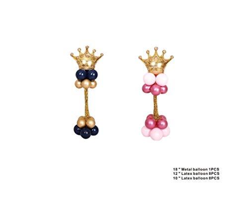 Takestop® - Juego de 18 globos, 1 corona dorada, 16 redondos, de látex, con base de soporte, 150 cm, CC_41584 para decoración de fiestas, cumpleaños, color aleatorio