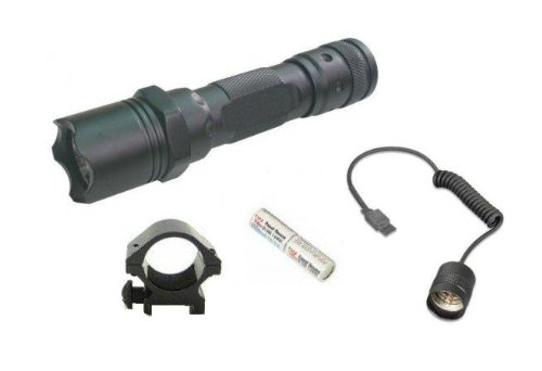 Ultimate Arms Gear Tactical 130+ Lumens L.E.D. Military Flashlight Shotgun Rifle Paintball Airsoft LED Tac - Light Kit Includes: Weaver-Picatinny Ring Mount, Remote Pressure Switch Cord , Push Button Tail Cap, And Batteries