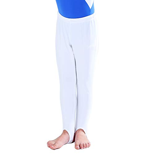 NEW DANCE Boy's and Men's Gymnastics Pants Youth Ballet Tights Stirrup Leggings for Yoga Practice Athletic (White,XLA)