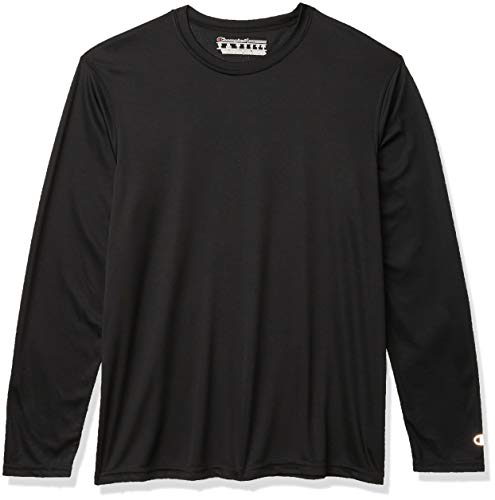 Champion Men's Long Sleeve Double Dry Performance T-Shirt, Black, X-Large