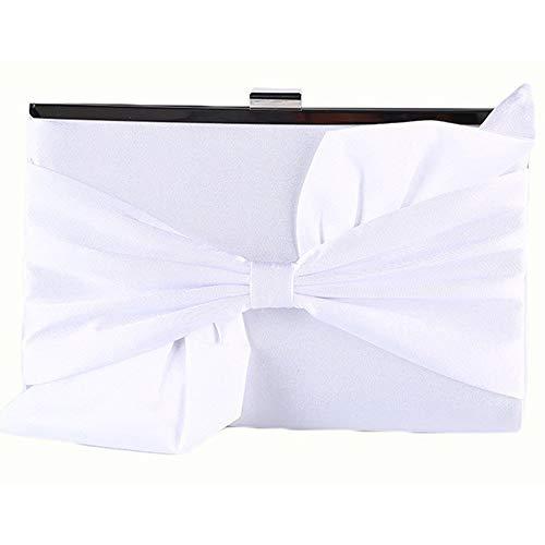 Y-hm Moda Señoras Nueva Seda Arco Experta Capacidad Capacidad Cadena Retro Embrague Diseño Ligero (Color : White, Size : 24 * 6 * 15)