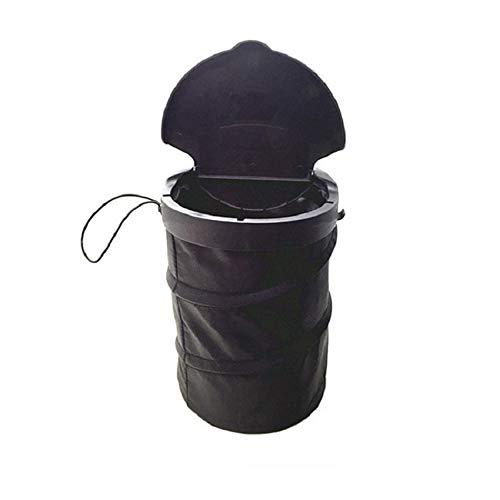 Sin logotipo GSJD - Cubo de basura plegable para colgar en el coche, con tapa, asiento trasero, asiento trasero, basura, bolsa organizadora, negro, )3L