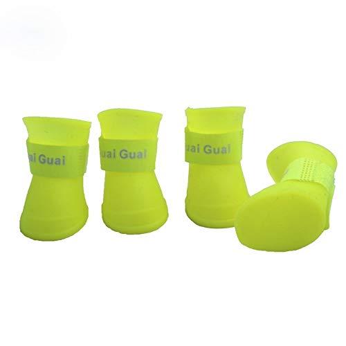 Tuzi Qiuge Gummistiefel wasserdichte Regen Schuhe reizender Haustier-Hundeschuh Welpen Süßigkeit-Farbe, S, Größe: 4,3 x 3,3 cm, Werkzeuge, Sicherheit, ungiftige (Color : Yellow)
