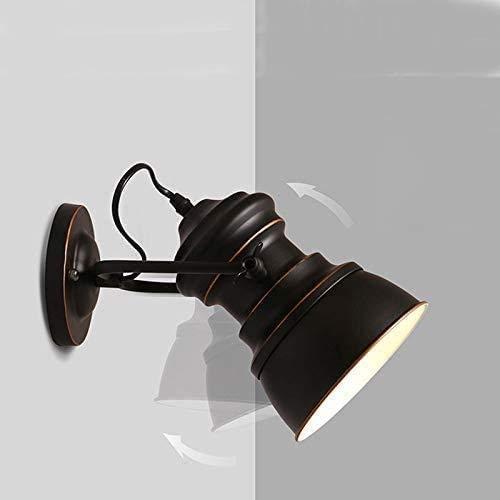 LXYZ Lámpara de pared industrial ajustable, retro, color negro, lámpara de pared fija, lámpara de pared con cable de noche para decoración de salón E27