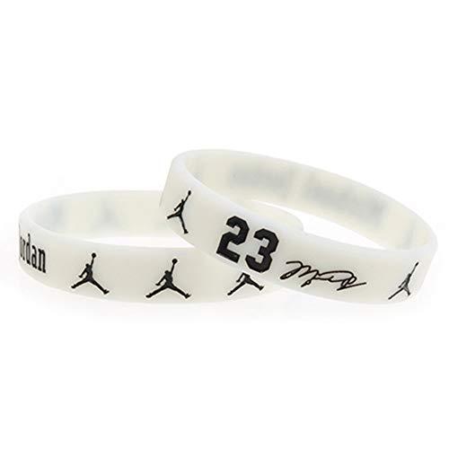 Zdy Joyería 5Pcs Pulsera Silicona Trapecio Jordan 23 Firma Versión Baloncesto NBA Fan Pulsera Silicona Pulsera Luminosa Deportes Fe,F