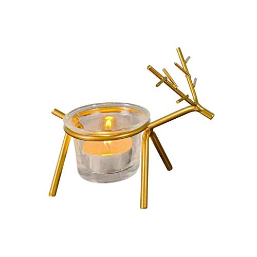 ZXTDD Taper Candelabras Holders Candlemetal Candle Light Christmas Decoration for Home Reindeer Candle Holder Candle Holder 1Pc-4