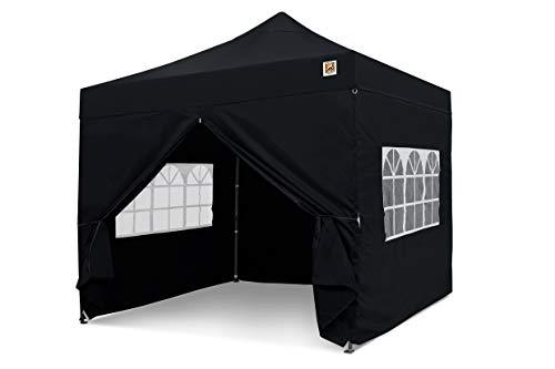 Gorilla Gazebo  Pop Up 3x3m Heavy Duty Waterproof Commercial Grade Market Stall 4 Side Panels and Wheeled Carrybag (Black)