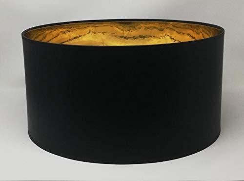 Lampenschirm Zylinder Form Schwarz Stoff Gold Futter Handarbeit Verschiedene Größen Deckenanhänger - Tisch (40 cm Durchmesser 20 cm Höhe)