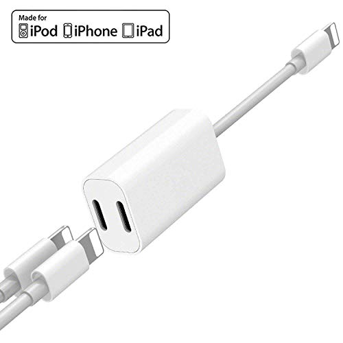 [Apple MFi Certified] Dual Lightning Splitter for iPhone, 2 in 1 Double Lightning Headphone Audio + Charge Compatible for iPhone 11/11 Pro/XS/XR/X 8, iPad, Support iOS 13 + Call + Sync + Music Control