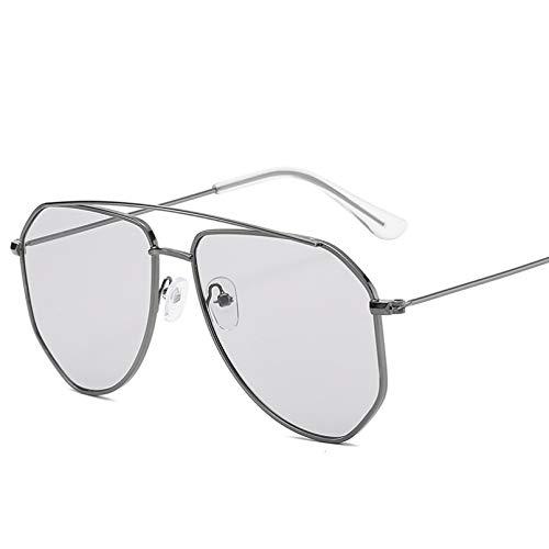 SHEANAON Gafas de Sol para Hombres, Mujeres, Montura metálica, Gafas de Sol para Conducir, Gafas con gradiente de Espejo UV400