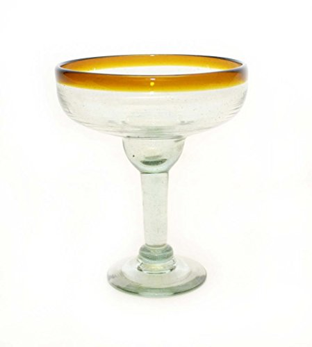 SET OF 4, AMBER RIM MARGARITA GLASSES, RECYCLED GLASS - 14OZ