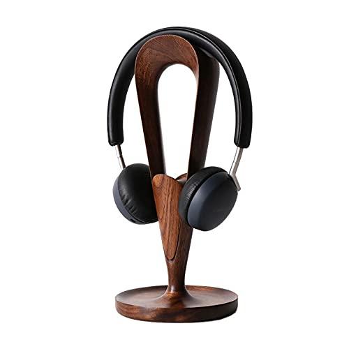 Soporte Auriculares Auriculares soporte de madera maciza para auriculares de escritorio de madera de nuez de grano de grano soporte creativo auricular de alta gama de almacenamiento de rack en rack am