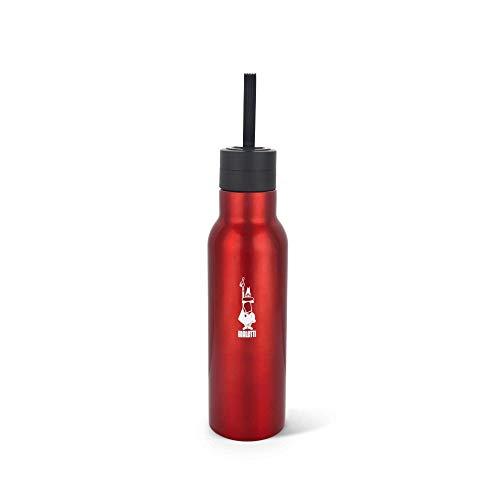 Bialetti Bottiglia Termica in Acciaio con Doppia Parete, Rosso (Lucido), 500 ml
