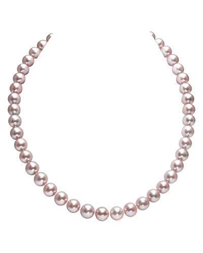 THE PEARL SOURCE - Rosa Perlenkette AAAA 9-10mm Süßwasser Zuchtperlen Halsketten für Frauen - Perlen Kette Rope - Länge 129cm - mit Weißgoldverschluss