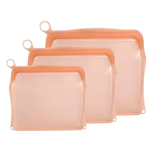 Amuzocity Sándwich de Cítricos Reutilizable de Bolsa de Almacenamiento Reutilizable de Silicona de Platino 3X - Naranja