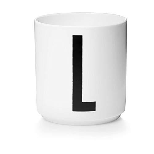 Design Letters Persönliche Porzellantassen Weiß (L) | Dekorative mit vielen Funktionen | Kaffeebecher/Kaffeetassen | Tasse in Porzellan mit Buchstabe | Personalisierte Geschenke | Erhältlich von A-Z