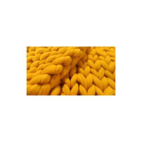 Manta tejida hecha a mano gigante suave grueso sof Manta de punto chunky Soft Hecho a mano Tiro de tejido para sofá Decoración Decoración Super Bed Mat Mat Manta de bebé (Color: Amarillo, Tamaño: 80 ×