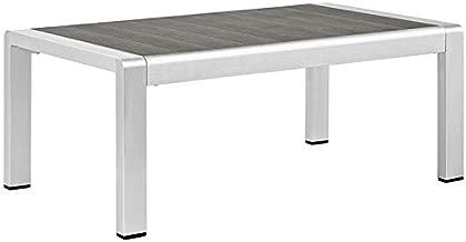 Modway Shore Aluminum Outdoor Patio Coffee Table in Silver Gray